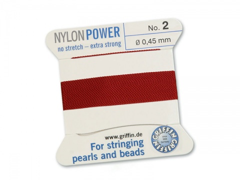 Griffin Nylon Power Beading Thread & Needle ~ Size 2 ~ Garnet