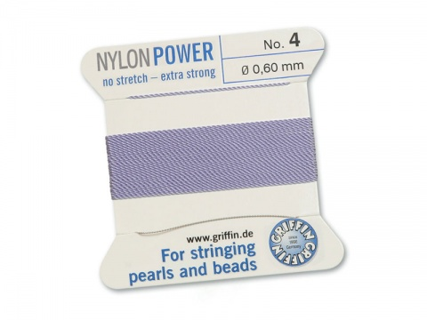 Griffin Nylon Power Beading Thread & Needle ~ Size 4 ~ Lilac