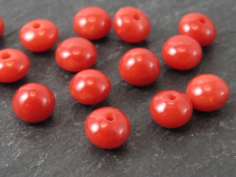 Red Coral Button ~ Half Drilled ~ Various Sizes