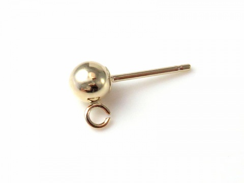 14K Gold Ear Post with Ball and Ring 4mm