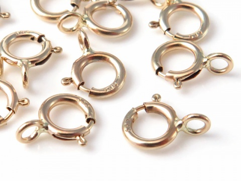 14K Gold Spring Ring Clasp w/Closed Ring 5mm