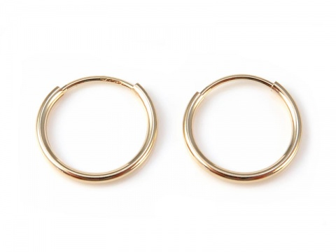 14K Gold Ear Hoops 12mm - PAIR