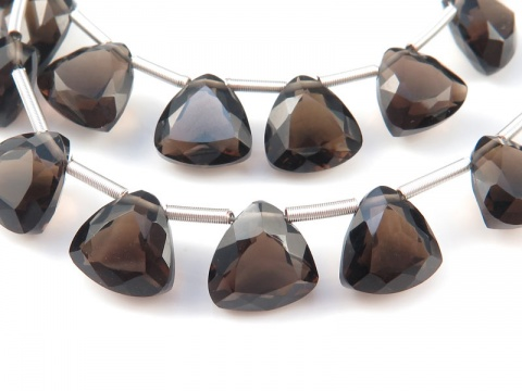 AAA Smoky Quartz Faceted Trilliant Briolettes 8mm ~ SINGLE
