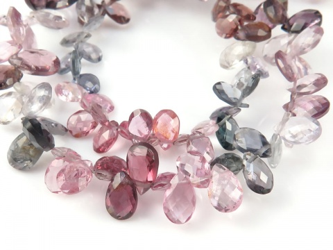 AA Multi Spinel Faceted Pear Briolettes Beads 5-6mm ~ 8'' Strand
