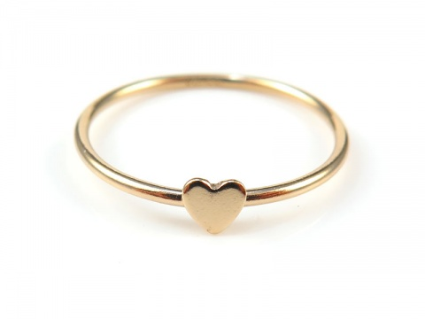 Gold Filled Stacking Ring with Heart ~ Size J