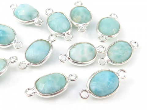 Sterling Silver Larimar Oval Connector 15mm