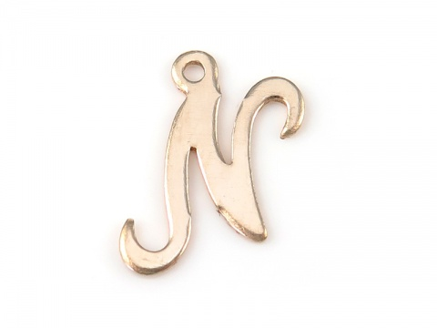 Gold Filled Alphabet Charm 11mm ~ N