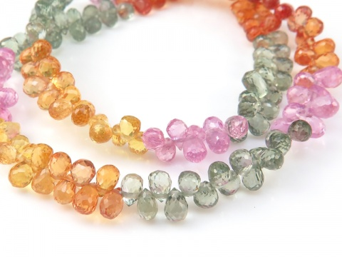 AAA Multi Sapphire Micro-Faceted Teardrop Briolettes 3.5-4.5mm ~ 8'' Strand