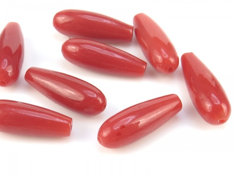 Red Coral Drop ~ Full Drilled ~ 14mm x 5mm