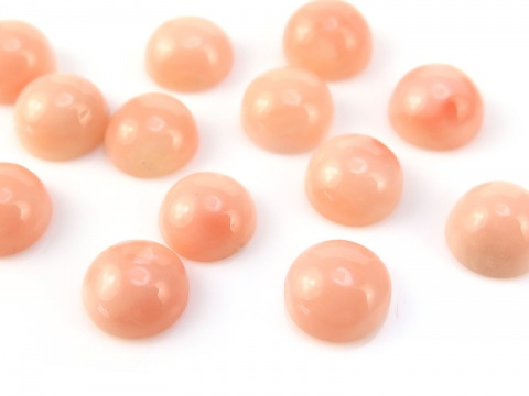 Light Pink Round Coral Cabochon ~ Various Sizes