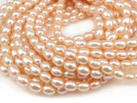 Freshwater Pearl Peach Rice Beads 7mm ~ 16'' Strand