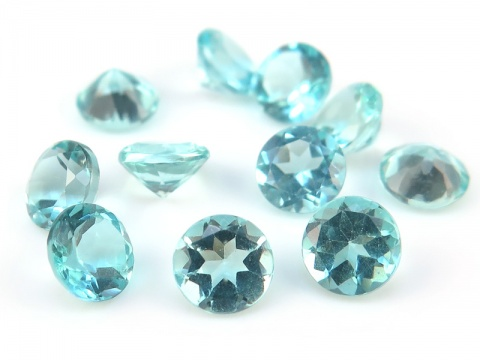 Ocean Blue Apatite Faceted Round ~ Various Sizes