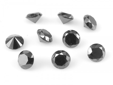 Black Diamond Faceted Round ~ Various Sizes