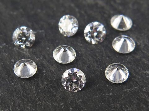 White Diamond Faceted Round ~ Various Sizes