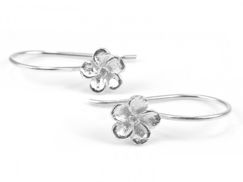 Sterling Silver Flower Ear Wire ~ PAIR