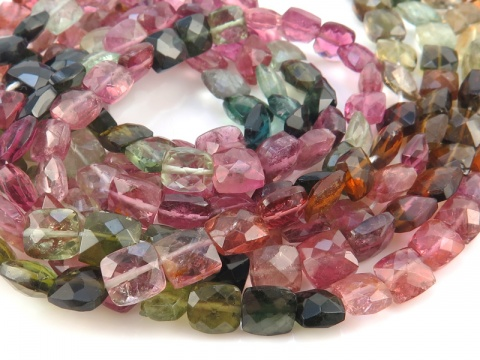 Multi-Tourmaline Faceted Rectangle Beads 5-6mm ~ 14'' Strand