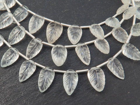 AA+ White Topaz Carved Leaf Briolettes 8-10.5mm