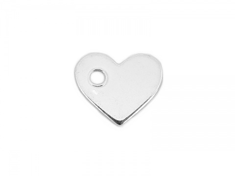 Sterling Silver Heart Tag 7.5mm