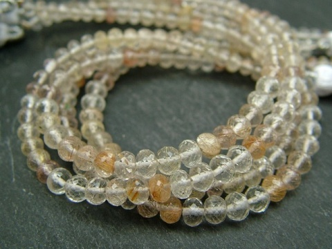 AA Golden Rutilated Quartz Faceted Rondelles ~ Various Sizes ~ 8'' Strand