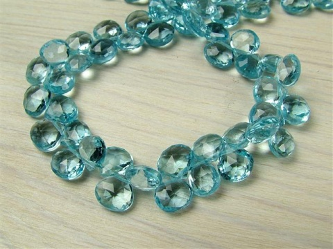 AA Sky Blue Topaz Faceted Heart Briolette 6mm ~ SINGLE
