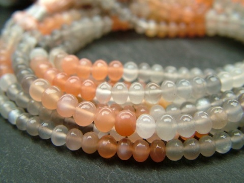 AAA Multi Moonstone Smooth Rondelles 4-5mm ~ 8'' Strand