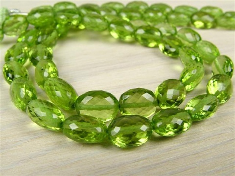 AA+ Peridot Micro-Faceted Oval Beads 6.5-8.5mm ~ 8.25'' Strand
