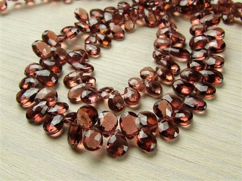 AA Rhodolite Garnet Faceted Pear Briolettes 5.5-6.5mm