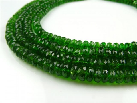 AA Chrome Diopside Micro-Faceted Rondelles 3.25-4mm