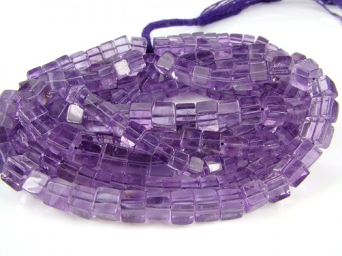Amethyst Smooth Cube Beads 5-6mm