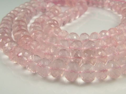 AAA Rose Quartz Micro-Faceted Rondelles 5.5-9mm ~ 15'' Strand