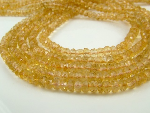 Citrine Faceted Rondelles 4mm ~ 13.5'' Strand