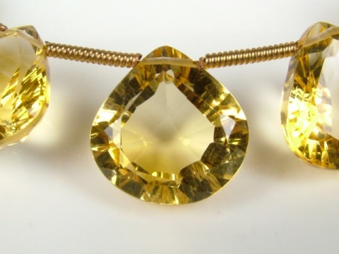 AAA Citrine Faceted Concave Heart Briolette ~ Various Sizes ~ SINGLE