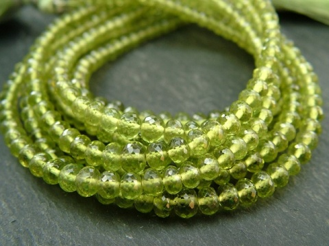 AA+ Vesuvianite Micro-Faceted Rondelles 3-4.25mm ~ 8.25'' Strand