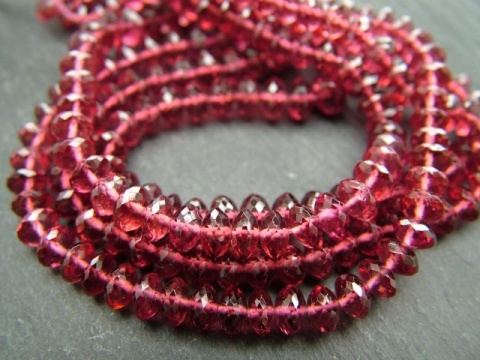 AA+ Rhodolite Garnet Micro-Faceted Rondelles 5-6.5mm