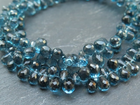 AAA London Blue Topaz Faceted Teardrop Briolettes 7mm ~ 8.25'' Strand