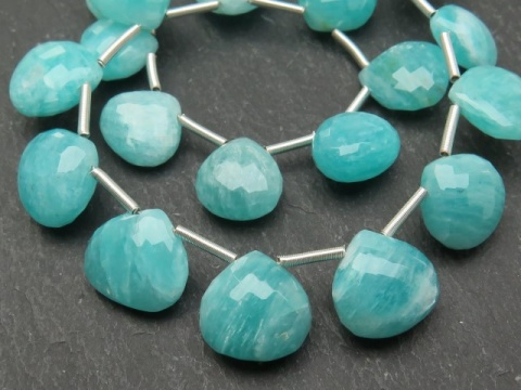 AA+ Amazonite Micro-Faceted Heart Briolettes ~ Various Sizes