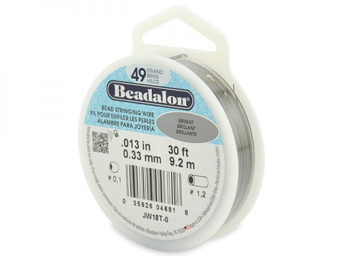 Beadalon 49 Strand Stringing Wire 0.013'' (0.33mm) - Bright - 30 ft