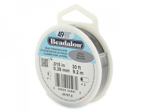 Beadalon 49 Strand Stringing Wire 0.015'' (0.38mm) - Bright - 30 ft
