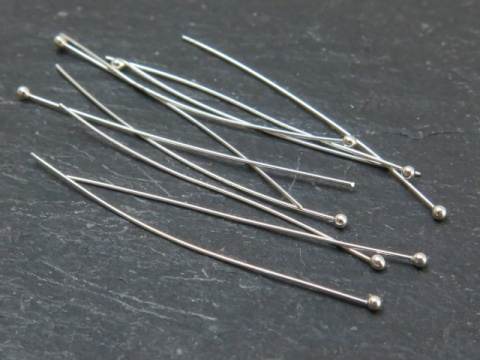Sterling Silver Ball Head Pin ~ 28 gauge ~ 1.5'' ~ Pack of 10