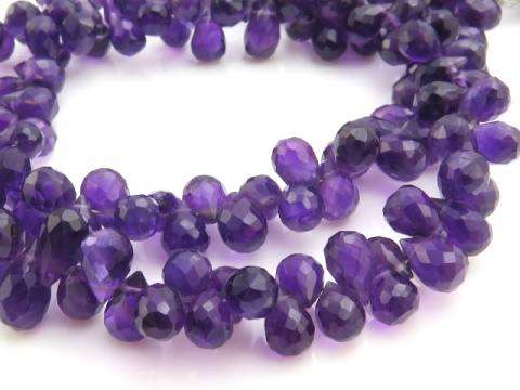 AA Amethyst Micro-Faceted Teardrop Briolettes 8mm ~ 9'' Strand