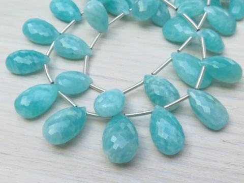 AA Amazonite Micro-Faceted Pear Briolettes 12-13mm ~ 9'' Strand
