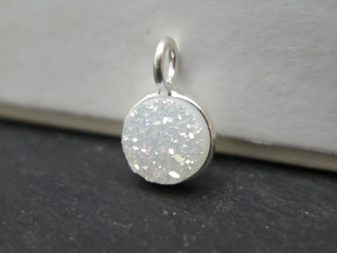 Sterling Silver White Druzy Round Charm 12mm