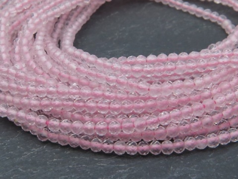 AAA Rose Quartz Micro-Faceted Rondelles 2mm ~ 13'' Strand