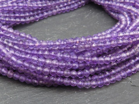 AAA Amethyst Micro-Faceted Rondelle Beads 2-2.5mm ~ 13'' Strand