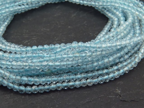 AA+ Sky Blue Topaz Micro-Faceted Rondelles 2mm ~ 13'' Strand