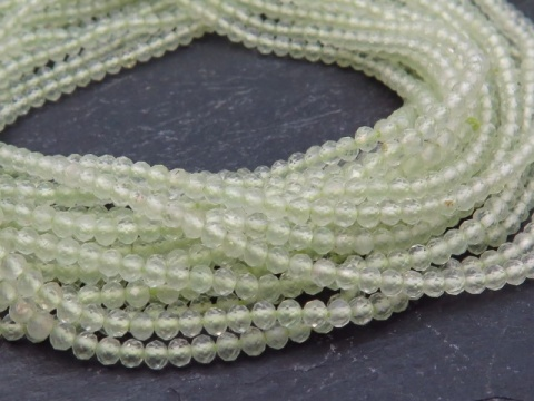 AA+ Prehnite Micro-Faceted Rondelles 2mm ~ 13'' Strand