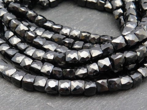 Black Spinel Faceted Cube Beads 5.5mm ~ 9'' Strand