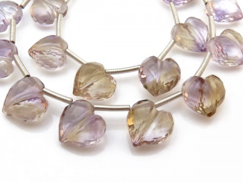 AAA Ametrine Micro-Faceted Heart Briolettes 8.5-10mm ~ 9.5'' Strand