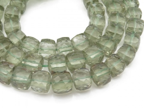 AA Green Amethyst Faceted Cube Beads 7-8mm ~ 9'' Strand