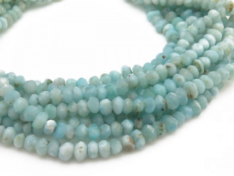 Larimar Faceted Rondelles 4mm ~ 13.5'' Strand